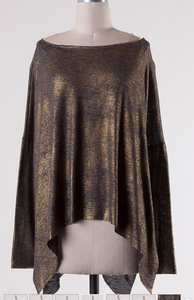 Metallic Split Hem Top