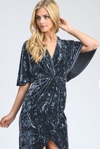 Crushed Velvet Grey Kimono Dress
