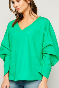 Gathered Sleeve Tunic With Back Button Detail