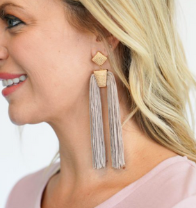 Gold Beige Double Tassel Earrings