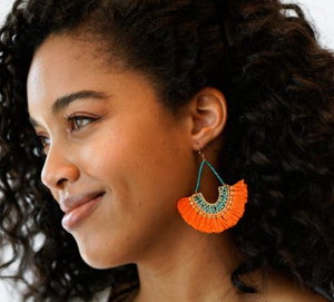 Tangerine Fringe Earrings