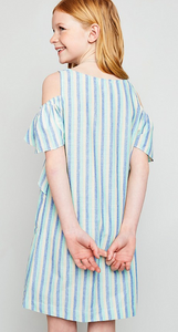 Girls Striped Ruffle Dress