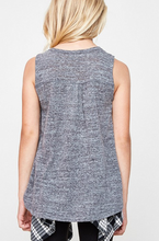 Burnout Button Trim Tank Top