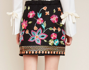 Embroidered High Waist Skirt