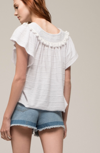 Smocked Neck Tassel Top