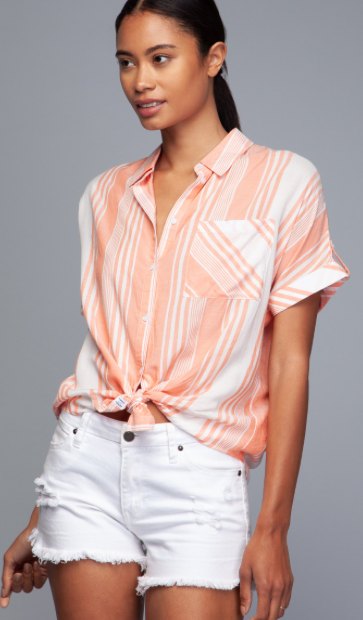 Salmon Striped Button Up