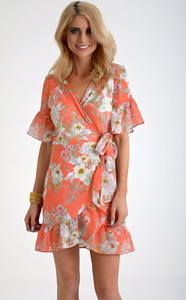 Floral Chiffon Wrap Dress