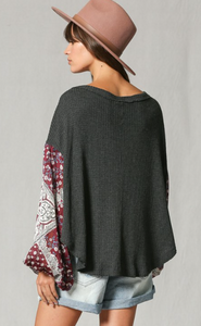 Burgundy Printed Sleeve Top