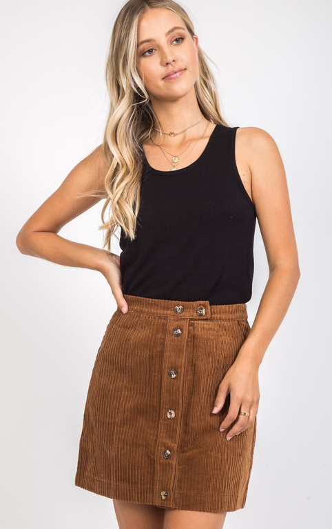 Corded Camel Skirt