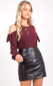 Black Faux Leather Skirt
