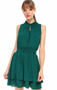 Smocked Layered Dress- Green or Mauve