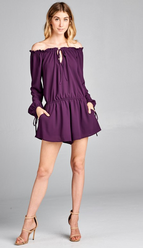 Plum Off Shoulder Romper