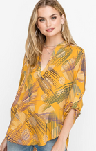 Mustard Random Stripes Top