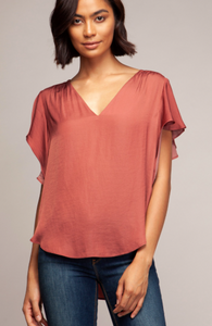 Flutter Sleeve V-Neck Top- 2 Color Choices