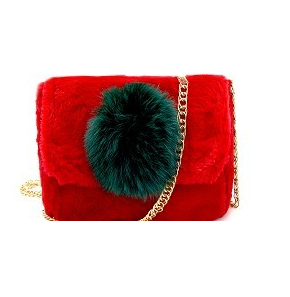 Red Fur Bag with Green Pom