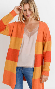 Orange Striped Cardigan
