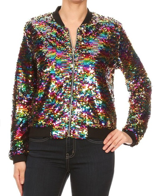 Multi Sequined Bomber Jacket