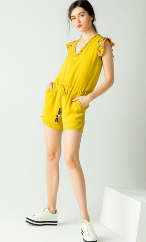 Embroidered Yellow Romper