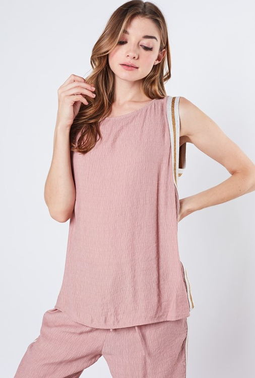 Pink Side Tape Detail Top