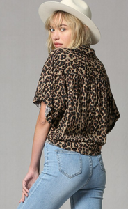 Leopard Button Front Top
