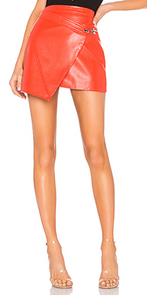 Side Latch Faux Leather Skirt- Red Or Black