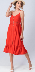 Button Down Dress- Red or Olive