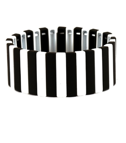 Black & White Pin Stripe Lego Bracelet