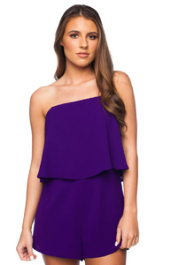 Purple Off Shoulder Romper
