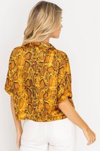 Snake Print Button Front Top