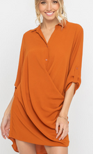 Rust Drape Front Dress