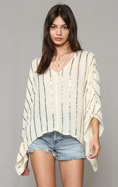 Gauze Sequin Top