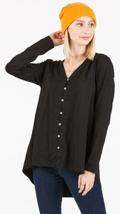 Black Button Front Top