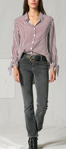 Wine Striped Vneck Button Down
