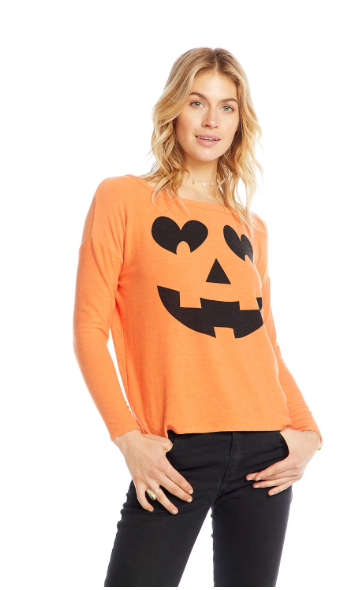 Pumpkin Face Knit Top