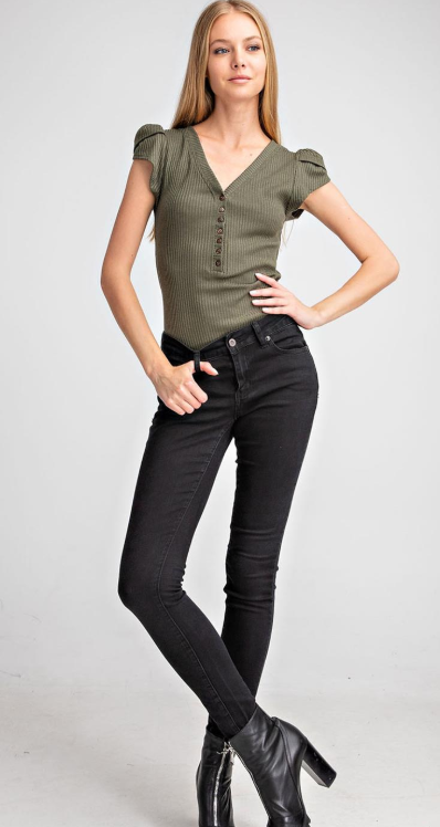 Cap Sleeve Button Bodysuit- 3 Color Choices