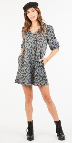 Grey Leopard Dress