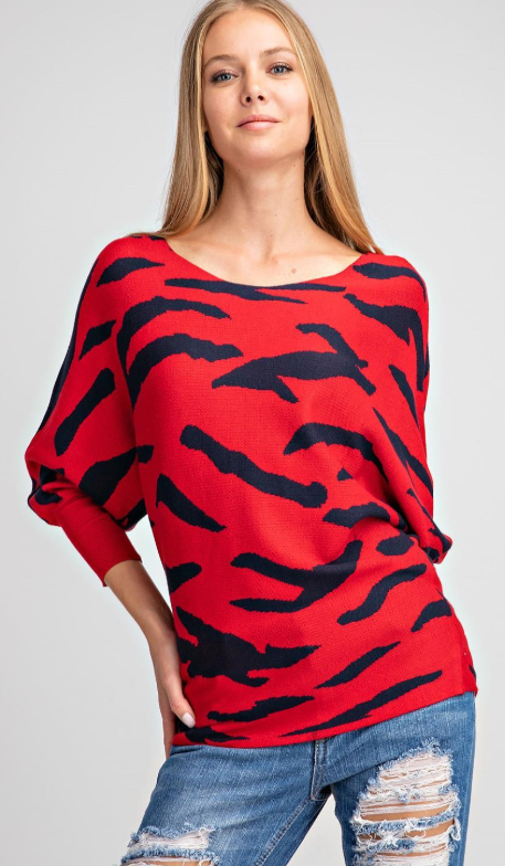 Boat Neck Zebra Sweater- Taupe or Red