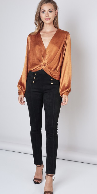 Metallic Twist Front Top- Caramel or Silver