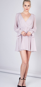 Shirred Detail Rose Flare Dress