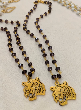 Amethyst Rosary Tiger Pendant Necklace