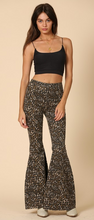 High Waist Leopard Denim Flares