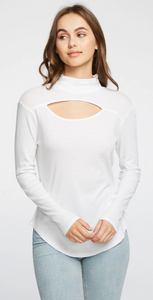 White Vented Shirttail Turtleneck