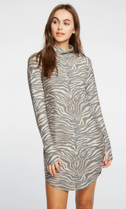 Knit Turtleneck Zebra Print Dress