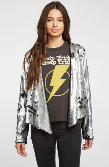 Chaser Sequin Drape Front Jacket