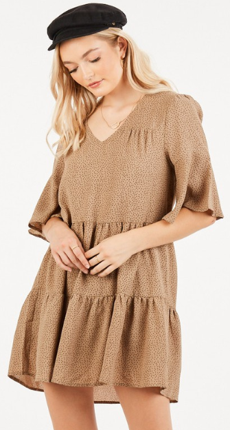 Taupe Ruffled Swing Dress