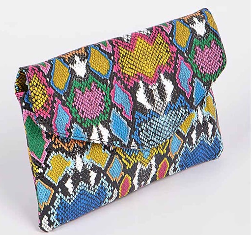 Multi colored python clutch