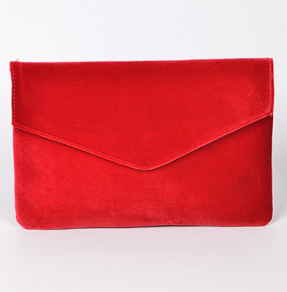Faux Velvet Clutch- Red or Green