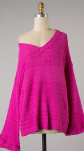 Fuchsia Cable Knit Sweater
