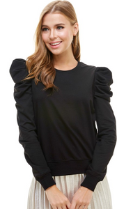 Puff Sleeve Top - Red or Black