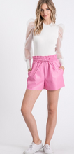 Faux Leather Pink Shorts